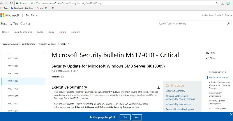 microsoft security patch for wanna cry