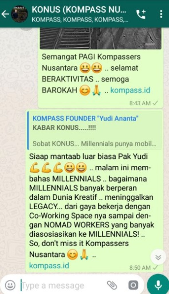 Komentar Muhammad Idham Azhari KONUS Digital Marketing 10 April 2019 melalui WAG KONUS