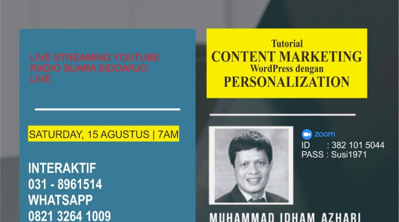 Tutorial CONTENT MARKETING WordPress Dengan PERSONALIZATION Melalui SUARA SIDOARJO