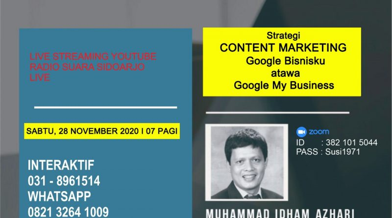Strategi CONTENT MARKETING Google Bisnisku Atawa Google My Business Melalui SUARA SIDOARJO